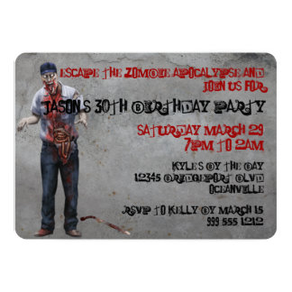 Zombie Mechanic Custom Birthday Invites