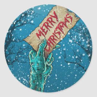 Zombie Merry Christmas Holiday Classic Round Sticker