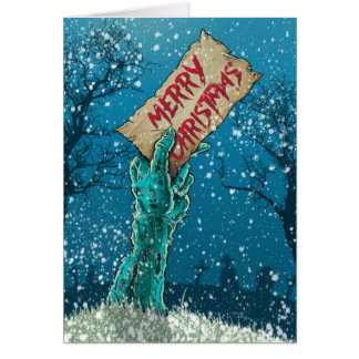 Zombie Merry Christmas Holiday Greeting Card