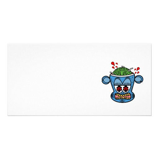 Zombie monkey in blue personalized photo card