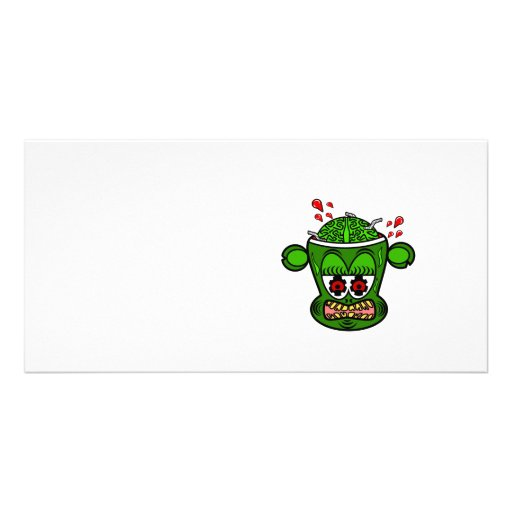 Zombie monkey in green photo card template