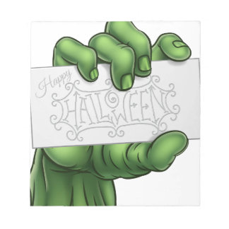 Zombie Monster Hand Holding Happy Halloween Sign Notepad