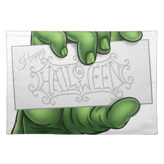 Zombie Monster Hand Holding Happy Halloween Sign Placemat
