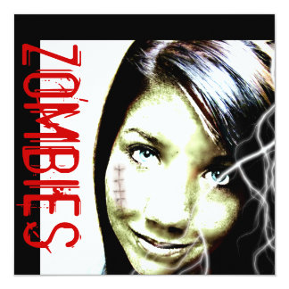 """Zombie Movies Invite with cute Teen Zombie Girl 5.25"""" Square Invitation Card"""