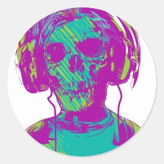 Zombie Music Classic Round Sticker