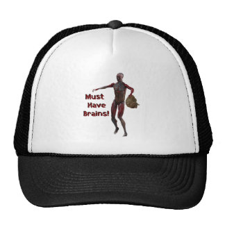 Zombie Must Have Brains Mesh Hat