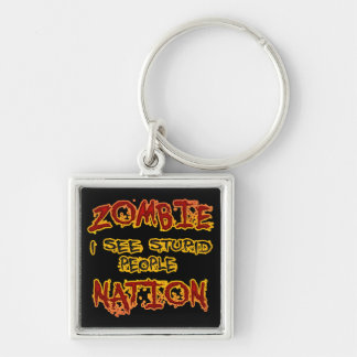 Zombie Nation - I See Stupid People Silver-Colored Square Key Ring