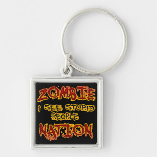Zombie Nation Silver-Colored Square Key Ring