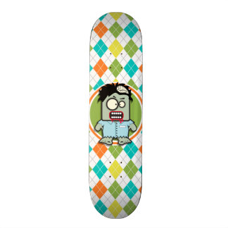 Zombie on Colorful Argyle Pattern Skate Board Deck