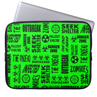 Zombie, Outbreak, Biohazard Black & Neon Green Laptop Computer Sleeves