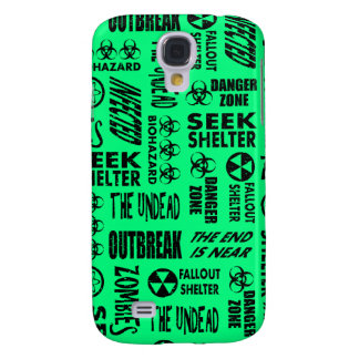 Zombie, Outbreak, Biohazard Black Spring Green Galaxy S4 Case