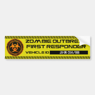 Zombie Outbreak First Responder Bumper Sticker