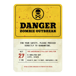 Zombie Outbreak Halloween Party Invitation