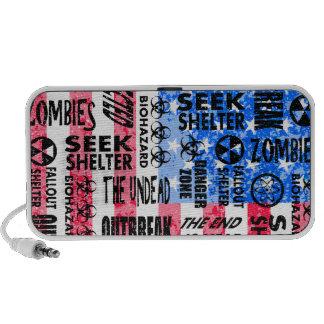 Zombie Outbreak Undead Biohazard American Flag Mini Speaker