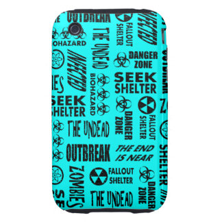 Zombie Outbreak Undead Biohazard Black Aqua iPhone 3 Tough Cases