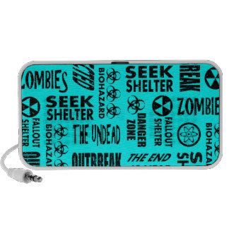 Zombie Outbreak Undead Biohazard Black Aqua Notebook Speaker