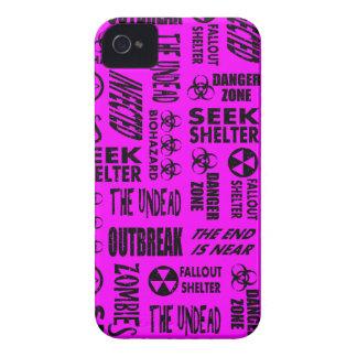 Zombie, Outbreak, Undead, Biohazard Black, Fuchsia iPhone 4 Case-Mate Cases