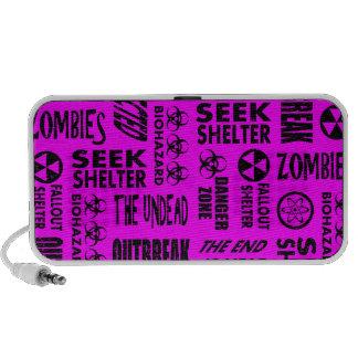 Zombie Outbreak Undead Biohazard Black Fuchsia Speaker System