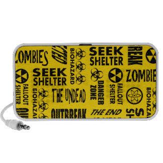 Zombie Outbreak Undead Biohazard Black Gold Laptop Speakers