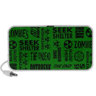 Zombie Outbreak Undead Biohazard Black Green Mini Speakers