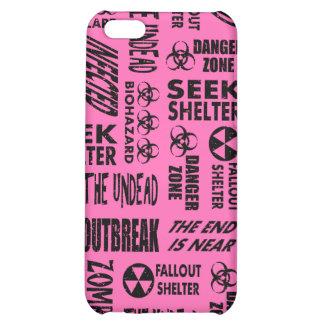 Zombie Outbreak, Undead, Biohazard Black, Hot Pink iPhone 5C Cases