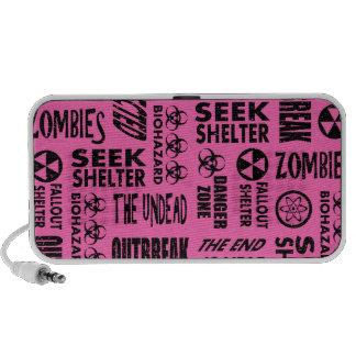 Zombie Outbreak Undead Biohazard Black Hot Pink Portable Speakers