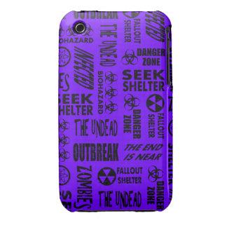 Zombie, Outbreak, Undead, Biohazard Black & Indigo iPhone 3 Cases