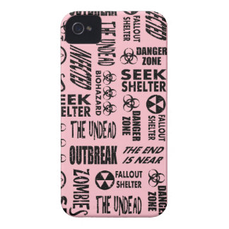 Zombie, Outbreak, Undead, Biohazard Black & Pink iPhone 4 Case-Mate Cases