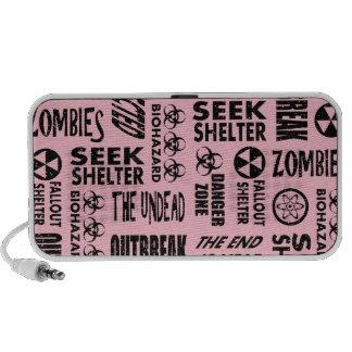 Zombie Outbreak Undead Biohazard Black Pink Portable Speakers