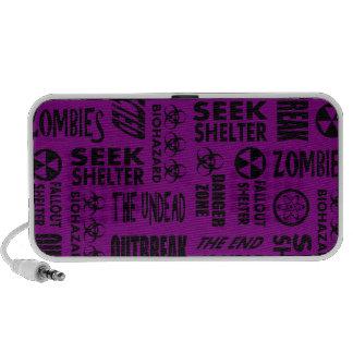 Zombie Outbreak Undead Biohazard Black Purple Mp3 Speakers