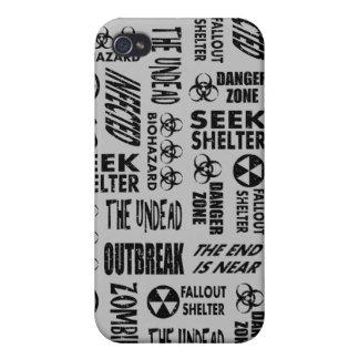 Zombie, Outbreak, Undead, Biohazard Black & Silver iPhone 4 Cases