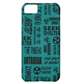 Zombie, Outbreak, Undead, Biohazard Black & Teal iPhone 5C Covers