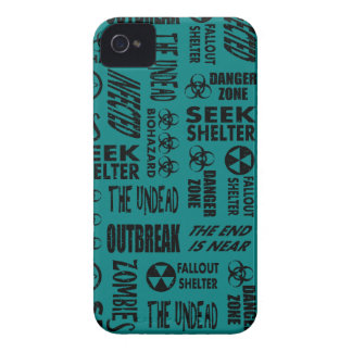 Zombie, Outbreak, Undead, Biohazard Black & Teal iPhone 4 Case-Mate Cases