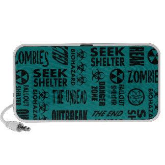 Zombie Outbreak Undead Biohazard Black Teal Mp3 Speaker