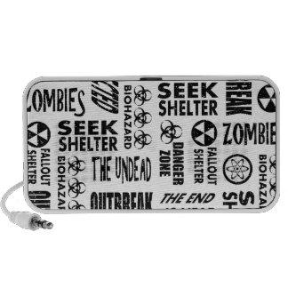 Zombie Outbreak Undead Biohazard Black White Laptop Speaker