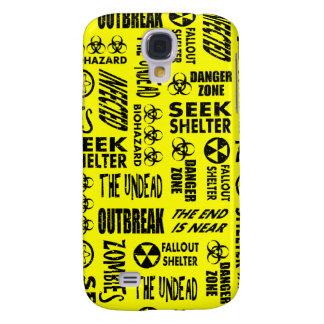 Zombie, Outbreak, Undead, Biohazard Black & Yellow Samsung Galaxy S4 Covers
