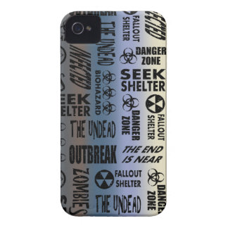Zombie Outbreak, Undead, Black & Metallic Gradient iPhone 4 Cases