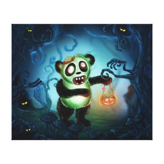 Zombie Panda Halloween Forest Canvas Print