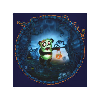 Zombie Panda Spooky Hollow Stretched Canvas Print