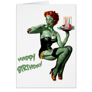 Zombie Pin Up Birthday Greeting Card
