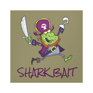 ZOMBIE PIRATE CARTOON SHARK BAIT WRAPPED CANVAS