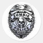 Zombie Police Force Round Sticker