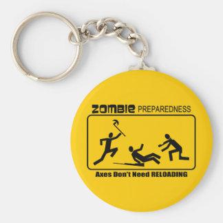 Zombie Preparedness Axes Reload Design Basic Round Button Key Ring