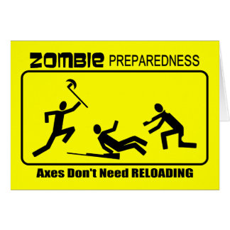 Zombie Preparedness Axes Reload Design Greeting Cards