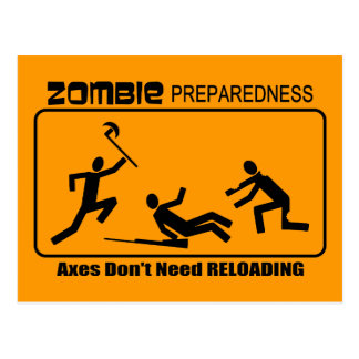 Zombie Preparedness Axes Reload Design Postcard