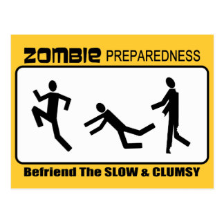 Zombie Preparedness Befriend Slow Design Postcard