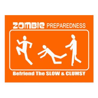 Zombie Preparedness Befriend Slow WHITE Design Post Cards