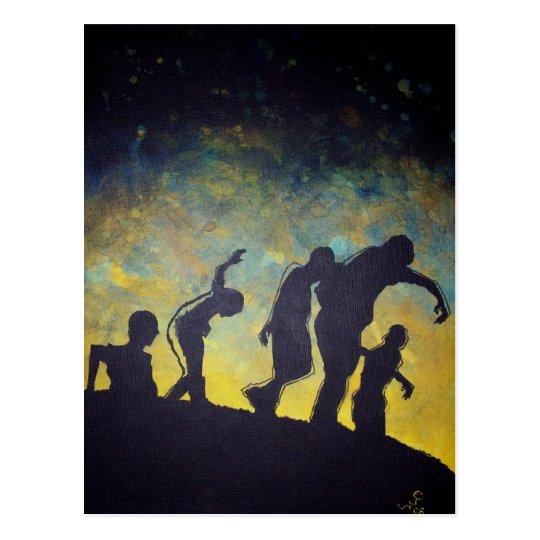 Zombie Procession silhouette horror art postcard