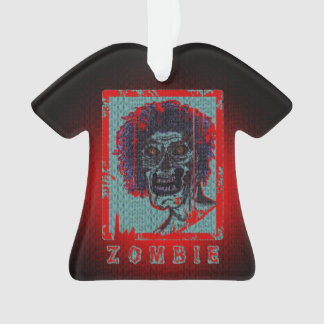 Zombie-Red & Blue Distressed Ornament