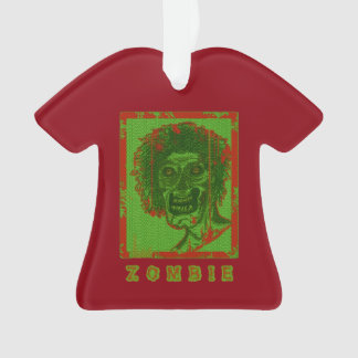Zombie-Red & Green Distressed Ornament